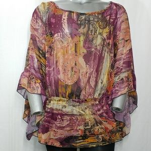 Ashley Stewart Oversize Sheer Cinched Waist Top 20